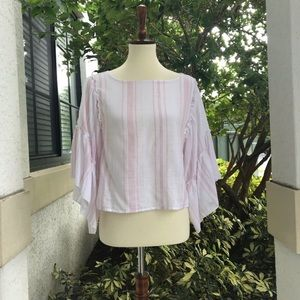 Romeo & Juliet Stripped Bell-sleeve cotton blouse